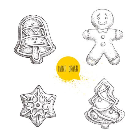 Hand getekende schets traditionele Kerstkoekjes set. Hand bel. peperkoekmannen, sneeuwvlok en kerstboom. Verzameling van vector handgemaakte illustratie.