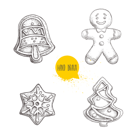 Hand drawn sketch traditional Christmas cookies set. Hand bell. gingerbread men, snowflake and christmas tree. Collection of vector hand made illustration.