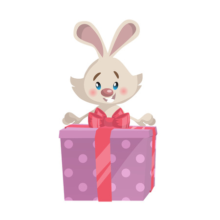Cartoon trendy style cute  laughing bunny mascot with big pink gift box icon. Simple gradient vector illustration.