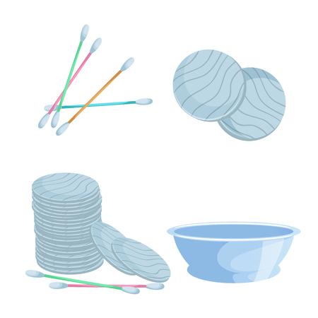 Cartoon bath accessories set. Cotton pads, bath washbowl and cotton swabs, hygiene sticks.