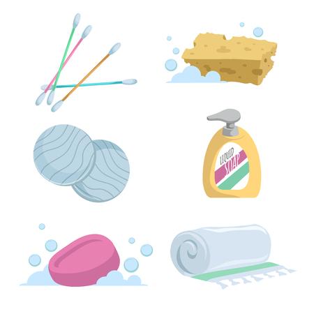 Jeu d'icônes dessin animé tendance simple bain dégradé. Les cotons-tiges, savon, serviette, lavage liquide, tampons de coton et éponge. Vecteurs