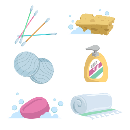 Cartoon trendy simple gradient bath icon set. Cotton sticks, soap, towel, liquid wash, cotton pads and sponge. Illustration
