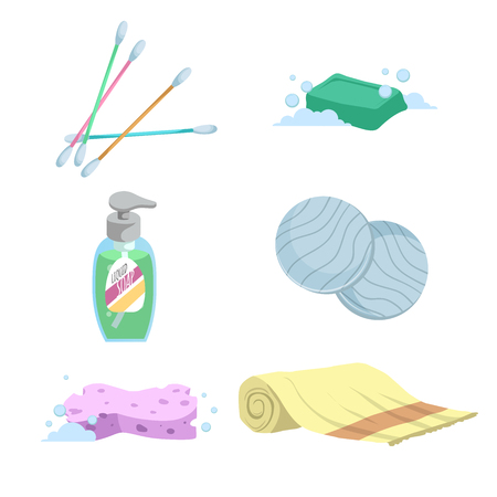 Cartoon trendy simple gradient bath icon set. Cotton sticks, soap, towel, liquid wash, cotton pads and sponge. Health and hygiene vector symbols.
