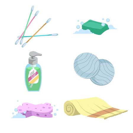 Trendiger einfacher Steigungsbadikonensatz der Karikatur. Wattestäbchen, Seife, Handtuch, Flüssigwaschmittel, Wattepads und Schwamm. Gesundheits- und Hygienevektorsymbole.