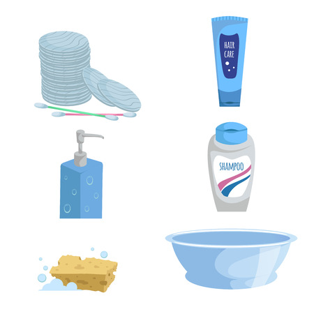 Cartoon trendy simple gradient bath icon set. Cotton sticks and pads, soap, shampoo and liquid wash  bottles, blue basin and sponge. Health and hygiene vector symbols.