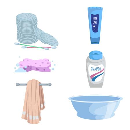Cartoon trendy eenvoudige kleurovergang bad pictogramserie. Katoenen stokken en stootkussens, zeep, handdoek, shampoo en vloeibare wasflessen, blauw bassin en spons. Gezondheid en hygiëne vectorsymbolen.
