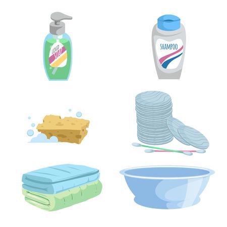 Cartoon gezondheid en hygiëne icon set. Stock Illustratie