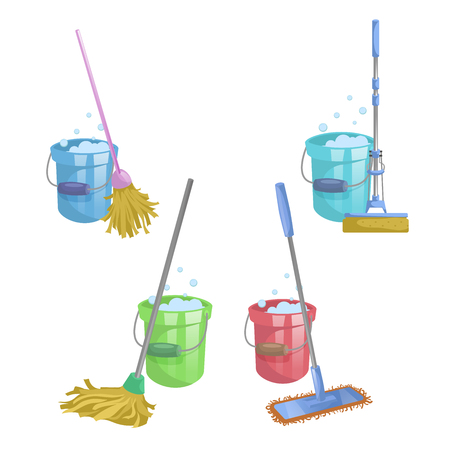 Cartoon house and apartment cleaning service icon set. Mops with bucket with washing liquid.  Modern plastic dry mop old mop, squeeze mop. Simple colors and gradient vector illustration. Illustration