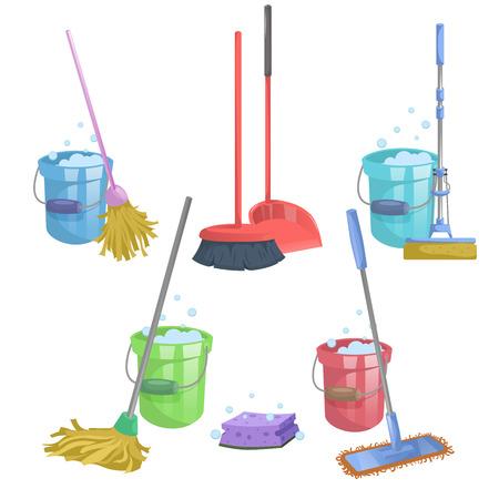 漫画家やマンション清掃サービス アイコンを設定します。洗浄液でバケツとモップ。 現代のプラスチックの乾燥したモップ古いモップ、絞りモップ