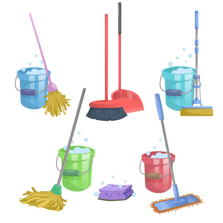 Cartoon house and apartment cleaning service icon set. Mops with bucket with washing liquid.  Modern plastic dry mop old mop, squeeze mop, dustpan, dust brush. Ilustração
