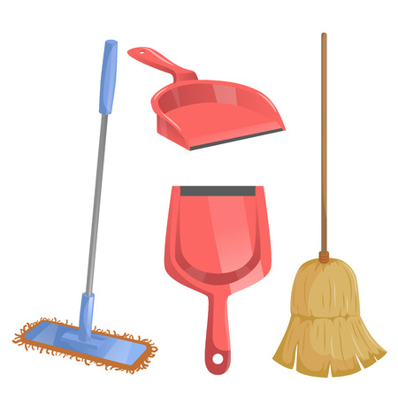 Cartoon trendy cleaning service icons set. Natural broom and different dustpans, modern plastic mop.