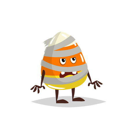 Cartoon candy corn costumed character. Mummy zombie costume. Halloween humanized sweet symbol for party poster and decoration. Illustration