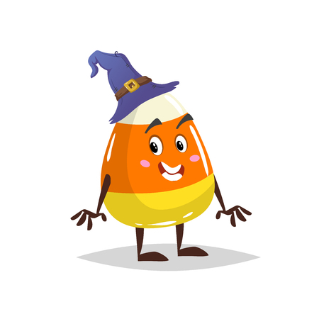 Cartoon candy corn costumed character. Mascot in witch hat. Halloween humanized sweet symbol for party poster and decoration. Illustration