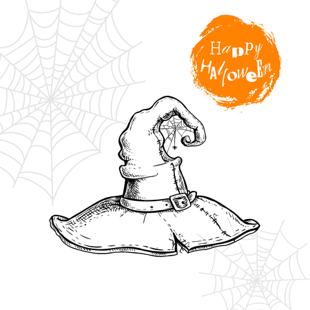Hand drawn witch hat with spiderweb and spider. Halloween party poster and invitation design element. Magic symbol isolated on white background.