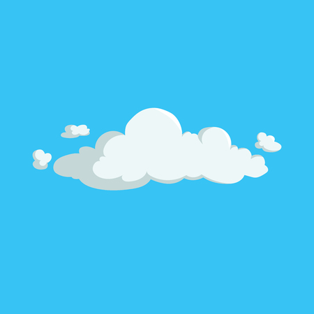 Cartoon cute fluffy cloud trendy design icon. Vector illustration of weather or sky background.