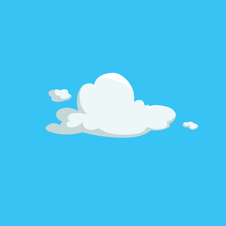 Cartoon cute fluffy clouds trendy design icon. Vector illustration of weather or sky background.
