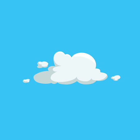 Cartoon cute cloud trendy design icon. Vector illustration of weather or sky background.