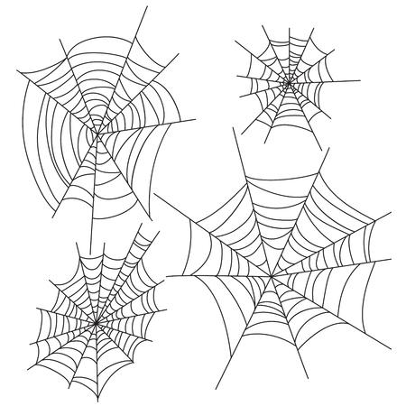 Spinnen web halloween vector decoratie set. Spinnenweb feest ontwerpelementen. Stock Illustratie