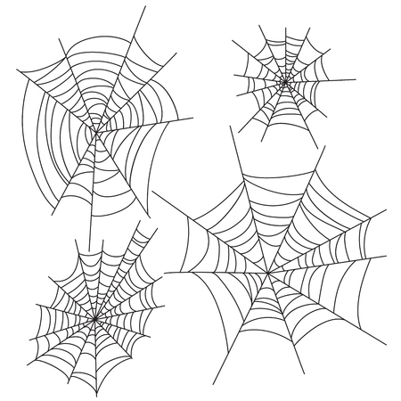 Spider web halloween vector decorations set. Cobweb party design elements. Illustration