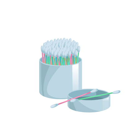Cartoon trendy flat style cotton swabs in open container icon.