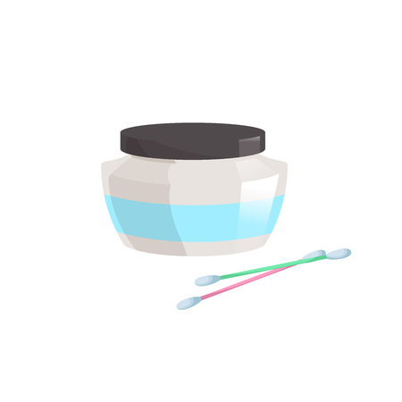 Cartoon trendy flat style container with cosmetic cream and cotton swabs icon.