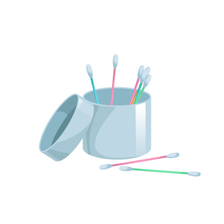 Cartoon trendy flat style cotton swabs in open containter icon. Cartoon colorful ear and cosmetic buds. Vector hygiene sticks. Bath and makeup symbols.