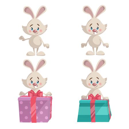 gray dot: Set of bunny icon.