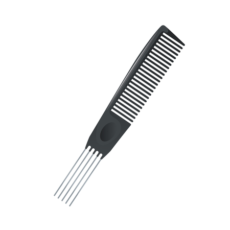Cartoon trendy metal pin tail comb for multy purposy use icon. Salon and professional fashion accessories vector illustration. Illusztráció