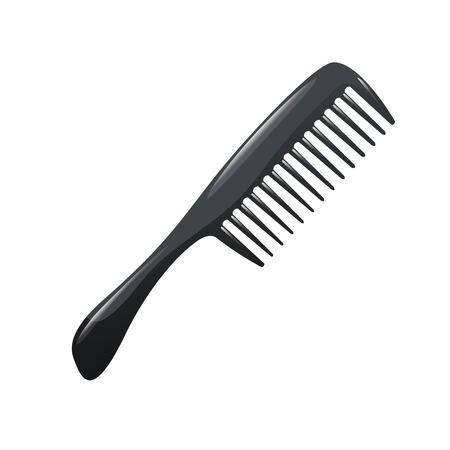 만화 유행 플라스틱 검은 머리 빗 아이콘 흰 배경에 고립. 전문 살롱 액세서리 벡터 일러스트 레이 션.