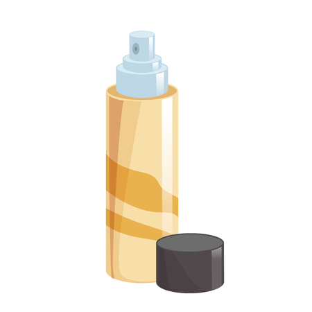 Cartoon style simple gradient hair spray fixation icon. Open gold container with cap. Hair care and styling accessory vector illustration.