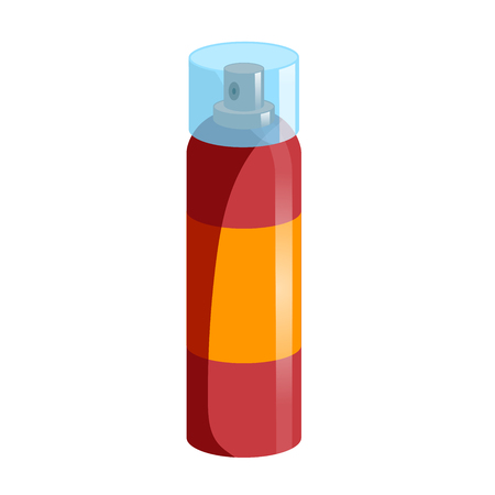 Cartoon style simple gradient hair spray fixation icon. Closed red bottle with transparent. Hair care and styling accessory vector illustration.