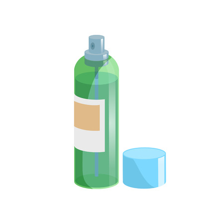 Cartoon style simple gradient hair spray fixation icon. Open green transparent container with blue cap. Hair care and styling accessory vector illustration. Ilustração
