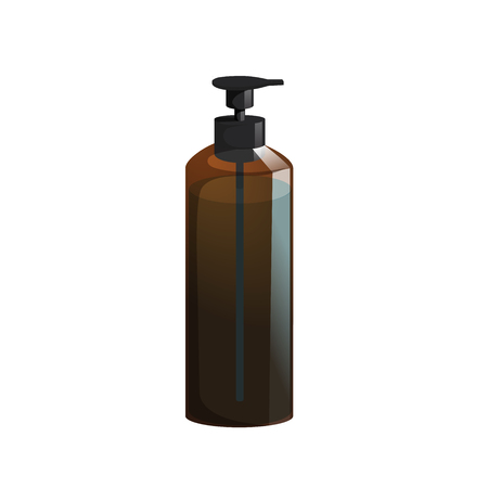Cartoon trendy design professional hair care container. Tube pump  brown bottle with hair lotion, liquid soap, gel, balsam.