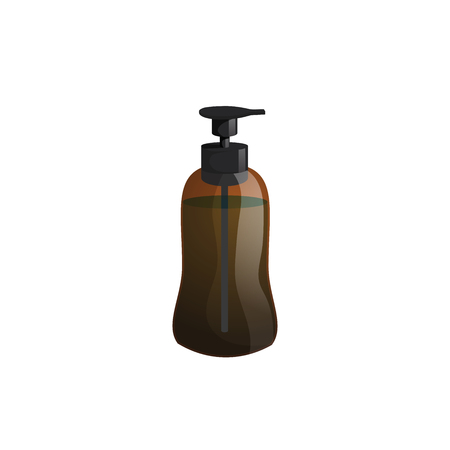 Cartoon trendy design professional hair care container. Figure tube pump  brown bottle with hair lotion, liquid soap, gel, balsam.