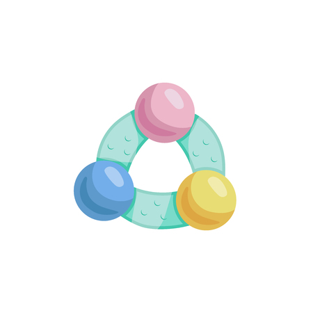 Cartoon trendy design baby colorful rattle. Vector simple gradient child accessory illustration.