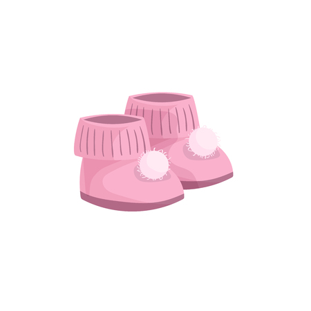 Cartoon trendy design pink baby booties icon . Vector simple gradient child accessory illustration Illustration