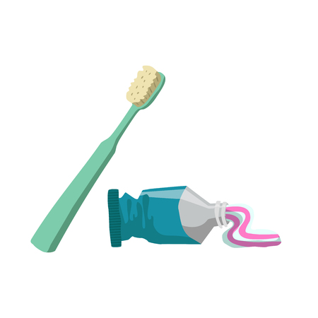 Cartoon flat style tooth care icons set. Tube with toothpaste and green toothbrush.