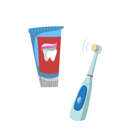 Cartoon flat style tooth care icons set. Tube with toothpaste tube and electric ultrasound toothbrush.