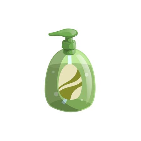 Trendy cartoon style green liquid soap bottle Vectores