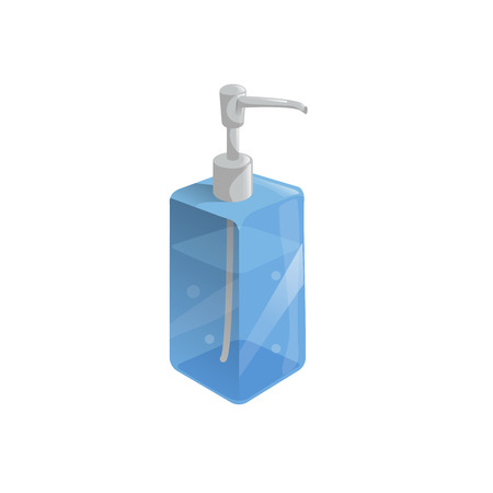 Trendy cartoon style liquid soap transparent blue bottle with dispenser and bubbles.