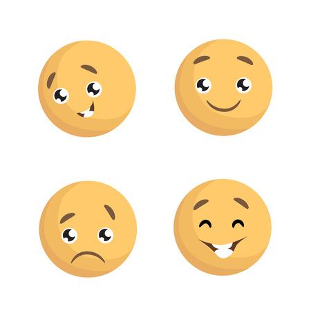 Set of Emotions illustration on white backdrop.