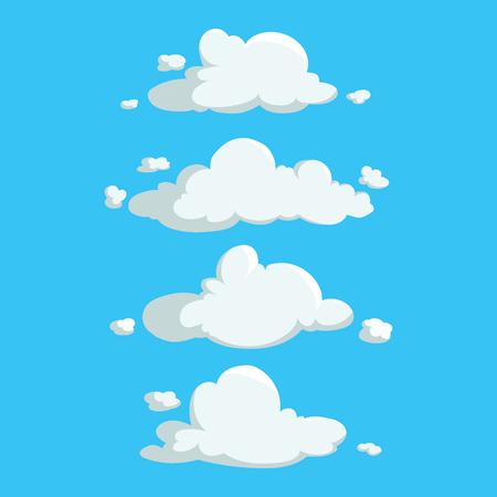 Cartoon cute cloud trendy design icons set. Vector illustration of weather or sky background. Ilustrace