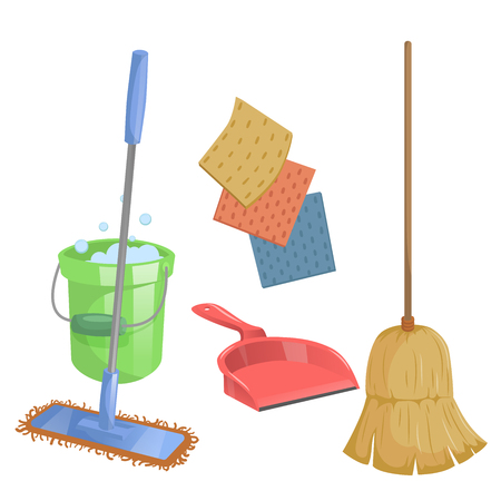 Cartoon trendy cleaning service icons set. Natural broom, red dustpan, modern plastic mop and dust clothes.