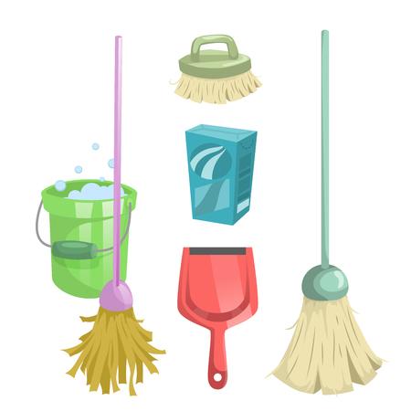 Cartoon style cleaning service icons set clip-art design. Ilustração
