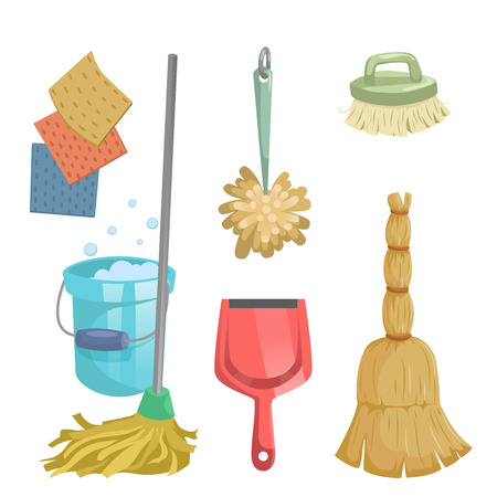 Cartoon trendy cleaning service icons set. Natural broom, red dustpan, mop, dust feather and clothes. Vectores