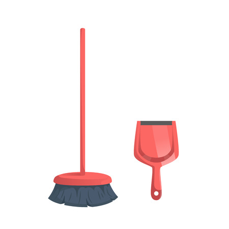 Cartoon simple gradient cleaning set objects. Modern red broom and plastic dustpan. Cleaning service vector icon illustration.