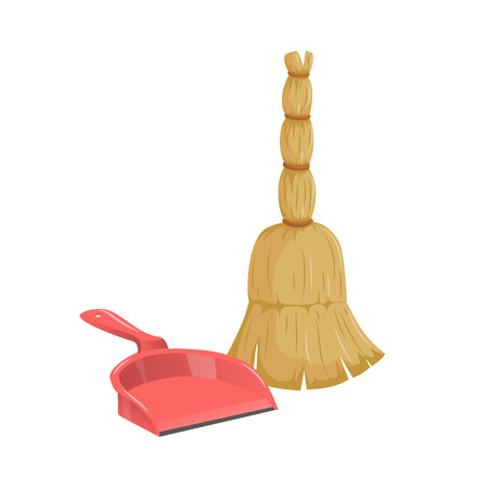 Cartoon simple gradient cleaning set objects. Natural broom and plastic dustpan. Cleaning service vector icon illustration.