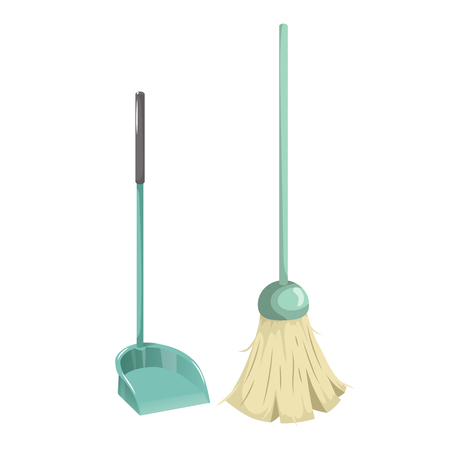 Cartoon simple gradient cleaning set objects. Green  broom and plastic dustpan with big handle. Cleaning service vector icon illustration.