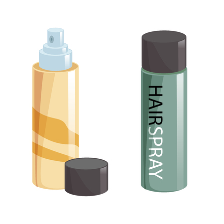 Cartoon style simple gradient hair spray fixation icon set. Open gold container with cap and closed green. Hair care and styling accessory vector illustration collection.