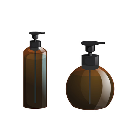 Cartoon trendy design professional hair care container set. Tube pump  brown bottle with hair lotion, liquid soap, gel, balsam. 向量圖像